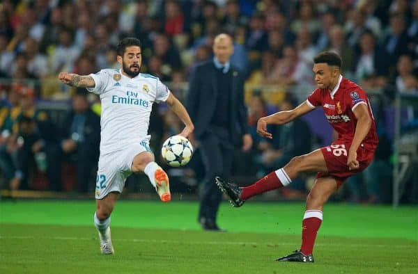 KIEV, UKRAINE - Saturday, May 26, 2018: Liverpool's Trent Alexander-Arnold and Real Madrid's Isco during the UEFA Champions League Final match between Real Madrid CF and Liverpool FC at the NSC Olimpiyskiy. (Pic by Peter Powell/Propaganda)