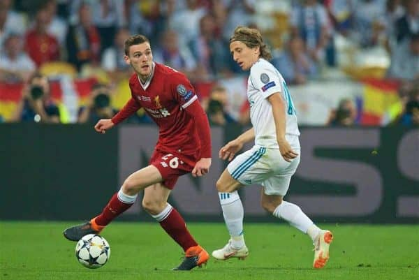 KIEV, UKRAINE - Saturday, May 26, 2018: Liverpool's Andy Robertson and Real Madrid's Luka Modri? during the UEFA Champions League Final match between Real Madrid CF and Liverpool FC at the NSC Olimpiyskiy. (Pic by Peter Powell/Propaganda)