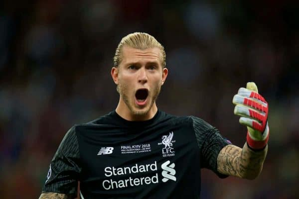 KIEV, UKRAINE - Saturday, May 26, 2018: Liverpool's goalkeeper Loris Karius during the UEFA Champions League Final match between Real Madrid CF and Liverpool FC at the NSC Olimpiyskiy. (Pic by Peter Powell/Propaganda)