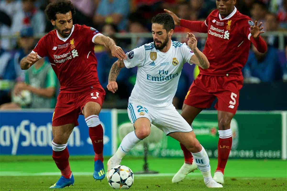 KIEV, UKRAINE - Saturday, May 26, 2018: Real Madrid's Isco (centre) and Liverpool's Mohamed Salah (left) and Georginio Wijnaldum (right) during the UEFA Champions League Final match between Real Madrid CF and Liverpool FC at the NSC Olimpiyskiy. (Pic by Peter Powell/Propaganda)