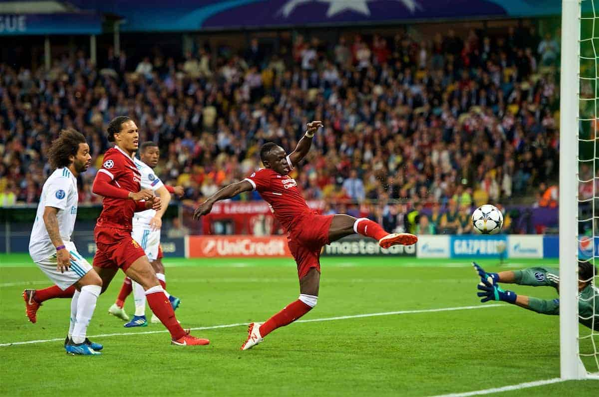 KIEV, UKRAINE - Saturday, May 26, 2018: Liverpool's Sadio Mane scores the first goal to equalise the score at 1-1 during the UEFA Champions League Final match between Real Madrid CF and Liverpool FC at the NSC Olimpiyskiy. (Pic by Peter Powell/Propaganda)