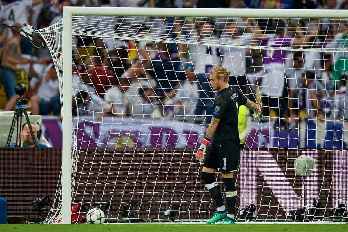 KIEV, UKRAINE - Saturday, May 26, 2018: Liverpool's goalkeeper Loris Karius looks dejected after gifting Real Madrid the opening goal during the UEFA Champions League Final match between Real Madrid CF and Liverpool FC at the NSC Olimpiyskiy. (Pic by Peter Powell/Propaganda)