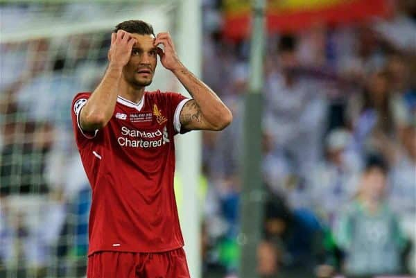 KIEV, UKRAINE - Saturday, May 26, 2018: Liverpool's Dejan Lovren looks dejected after Real Madrid score the opening goal during the UEFA Champions League Final match between Real Madrid CF and Liverpool FC at the NSC Olimpiyskiy. (Pic by Peter Powell/Propaganda)