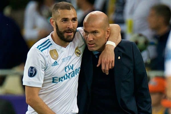 KIEV, UKRAINE - Saturday, May 26, 2018: Real Madrid's Karim Benzema celebrates scoring the first goal with head coach Zinédine Zidane during the UEFA Champions League Final match between Real Madrid CF and Liverpool FC at the NSC Olimpiyskiy. (Pic by Peter Powell/Propaganda)