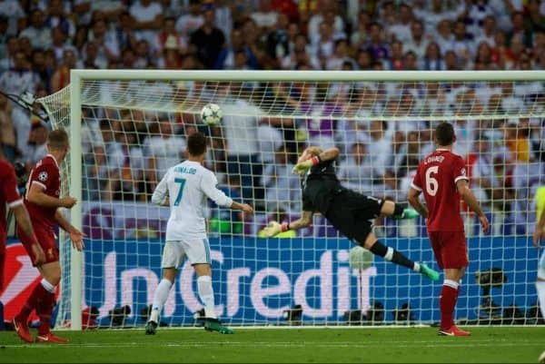 KIEV, UKRAINE - Saturday, May 26, 2018: Liverpool's goalkeeper Loris Karius is beaten as Real Madrid's Gareth Bale scores the second goal during the UEFA Champions League Final match between Real Madrid CF and Liverpool FC at the NSC Olimpiyskiy. (Pic by Peter Powell/Propaganda)