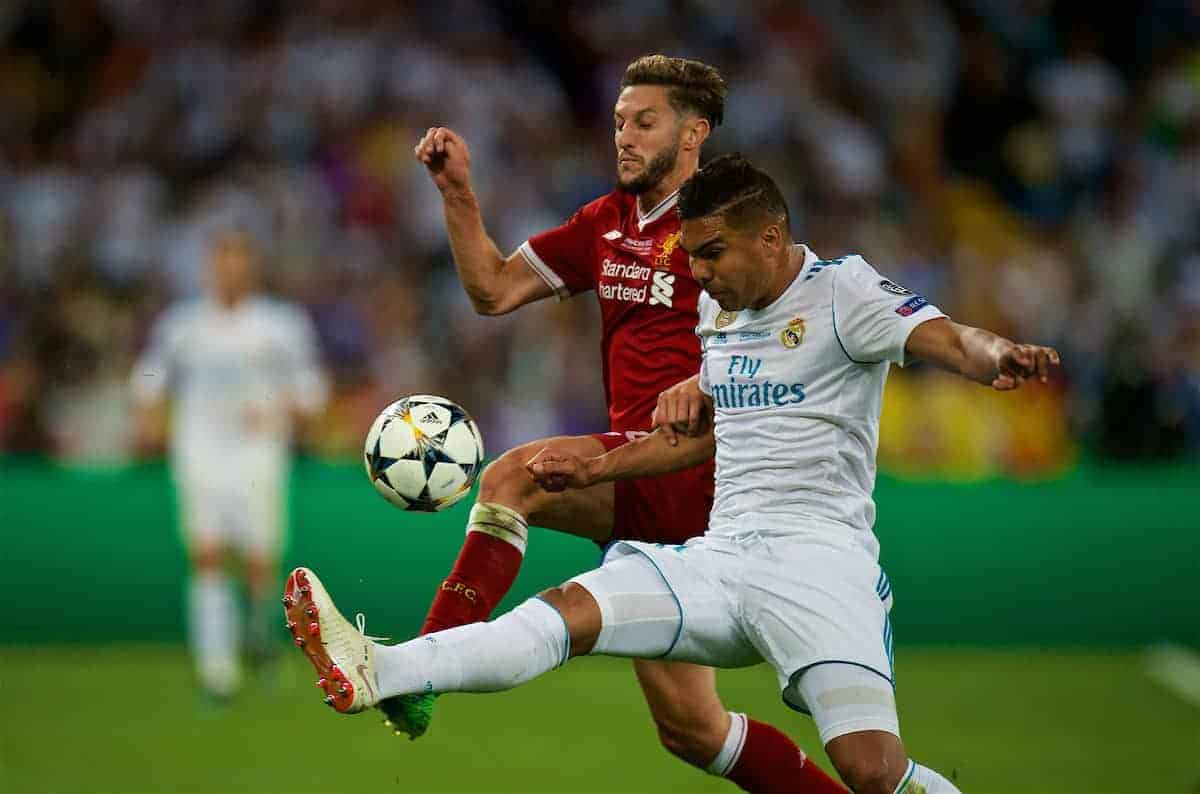 KIEV, UKRAINE - Saturday, May 26, 2018: Liverpool's Adam Lallana and Real Madrid's Casemiro during the UEFA Champions League Final match between Real Madrid CF and Liverpool FC at the NSC Olimpiyskiy. (Pic by Peter Powell/Propaganda)