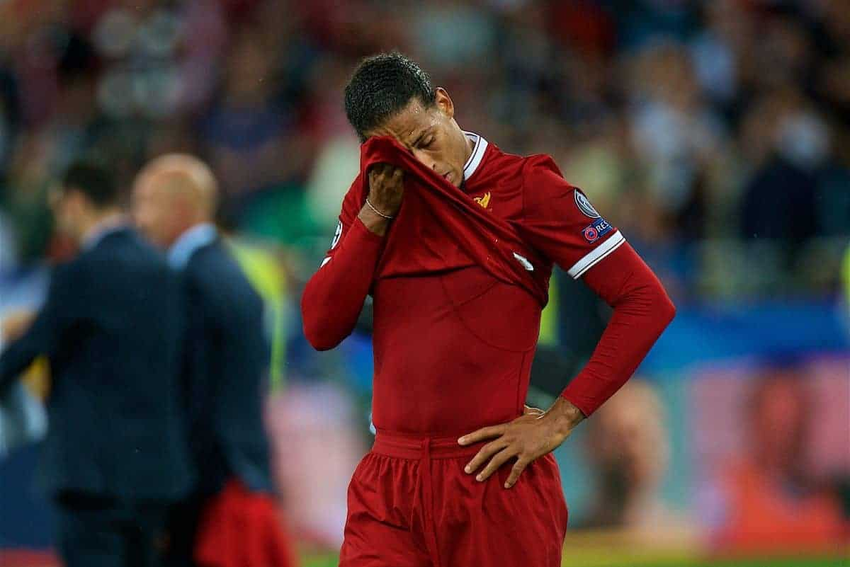 KIEV, UKRAINE - Saturday, May 26, 2018: Liverpool's Virgil van Dijk looks dejected as his side lose during the UEFA Champions League Final match between Real Madrid CF and Liverpool FC at the NSC Olimpiyskiy. Real Madrid won 3-1. (Pic by Peter Powell/Propaganda)