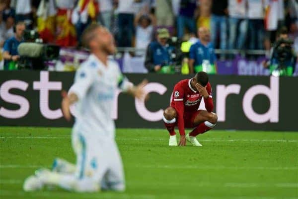 KIEV, UKRAINE - Saturday, May 26, 2018: Liverpool's Georginio Wijnaldum looks dejected as his side lose during the UEFA Champions League Final match between Real Madrid CF and Liverpool FC at the NSC Olimpiyskiy. Real Madrid won 3-1. (Pic by Peter Powell/Propaganda)