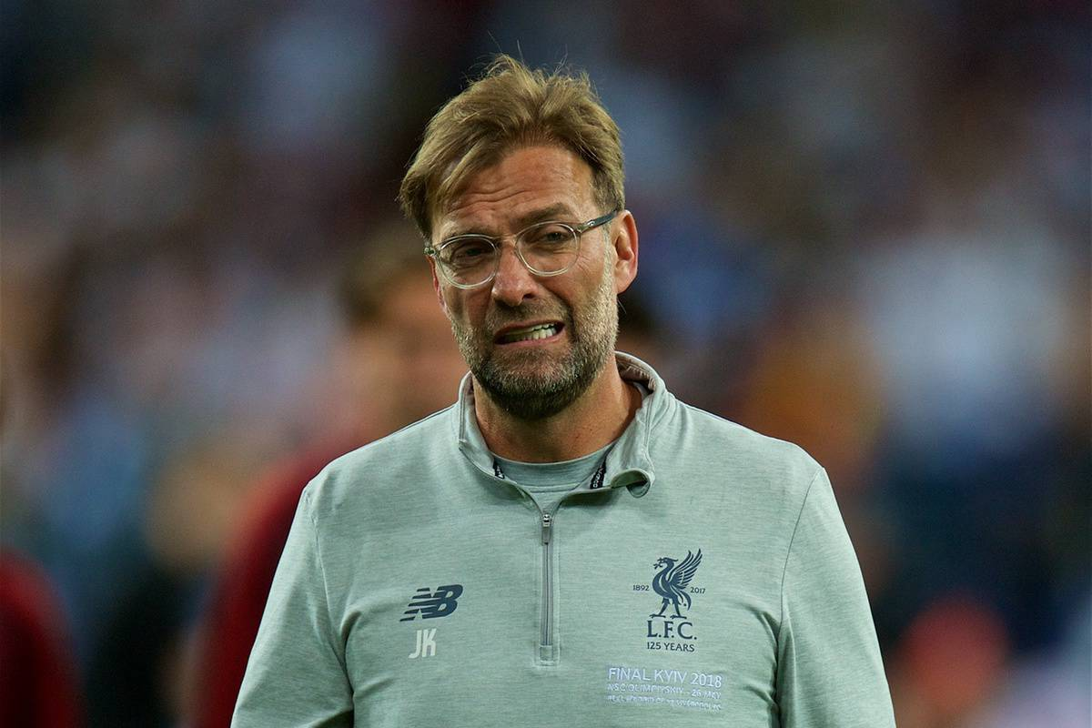 KIEV, UKRAINE - Saturday, May 26, 2018: Liverpool's manager J¸rgen Klopp looks dejected as his side lose during the UEFA Champions League Final match between Real Madrid CF and Liverpool FC at the NSC Olimpiyskiy. Real Madrid won 3-1. (Pic by Peter Powell/Propaganda)