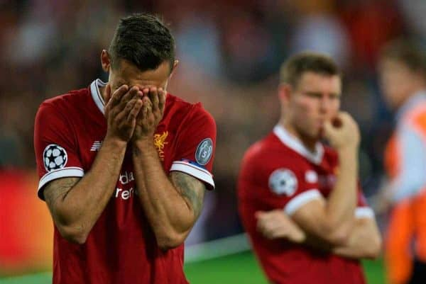 KIEV, UKRAINE - Saturday, May 26, 2018: Liverpool's Dejan Lovren looks dejected after the UEFA Champions League Final match between Real Madrid CF and Liverpool FC at the NSC Olimpiyskiy. Real Madrid won 3-1. (Pic by Peter Powell/Propaganda)