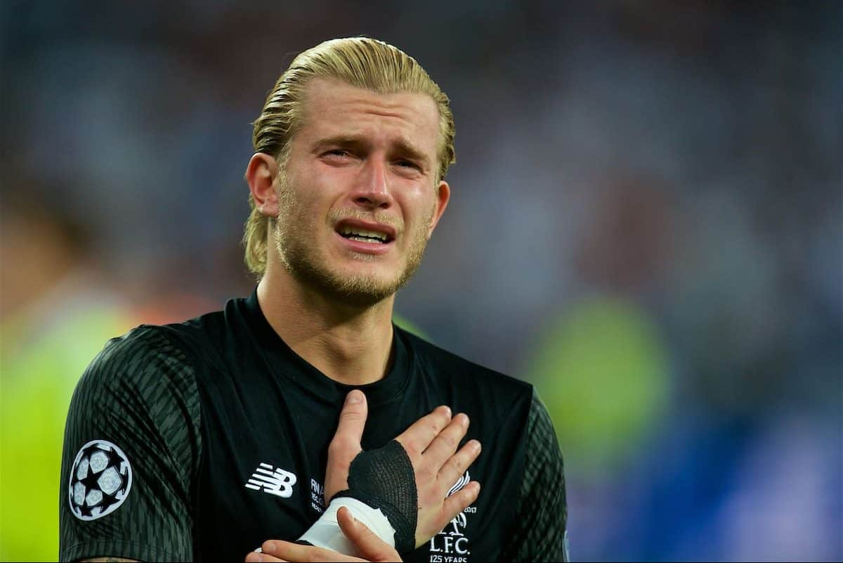 KIEV, UKRAINE - Saturday, May 26, 2018: Liverpool's goalkeeper Loris Karius looks dejected after his two mistakes gifted goals to Real Madrid during the UEFA Champions League Final match between Real Madrid CF and Liverpool FC at the NSC Olimpiyskiy. Real Madrid won 3-1. (Pic by Peter Powell/Propaganda)