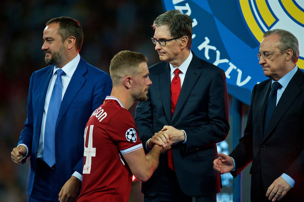 KIEV, UKRAINE - Saturday, May 26, 2018: Liverpool's captain Jordan Hendersonshakes hands with owner John W. Henry after the UEFA Champions League Final match between Real Madrid CF and Liverpool FC at the NSC Olimpiyskiy. Real Madrid won 3-1. (Pic by Peter Powell/Propaganda)