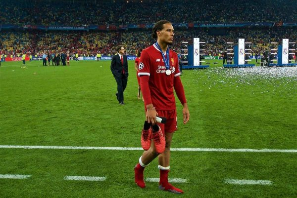 KIEV, UKRAINE - Saturday, May 26, 2018: Liverpool's Virgil van Dijk looks dejected after the UEFA Champions League Final match between Real Madrid CF and Liverpool FC at the NSC Olimpiyskiy. Real Madrid won 3-1. (Pic by Peter Powell/Propaganda)