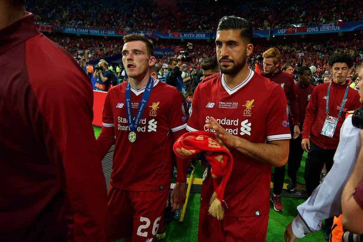 KIEV, UKRAINE - Saturday, May 26, 2018: Liverpool's Andy Robertson and Emre Can look dejected after the UEFA Champions League Final match between Real Madrid CF and Liverpool FC at the NSC Olimpiyskiy. Real Madrid won 3-1. (Pic by Peter Powell/Propaganda)