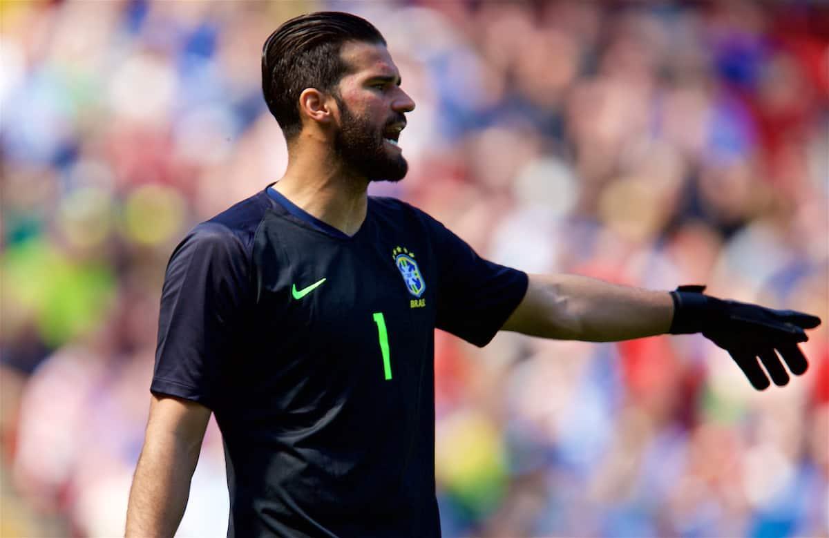Brazil's goalkeeper Alisson Becker during an international friendly between Brazil and Croatia at Anfield. (Pic by David Rawcliffe/Propaganda)