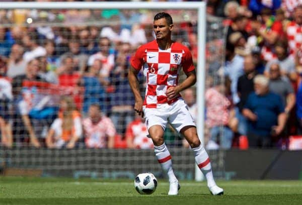 LIVERPOOL, ENGLAND - Sunday, June 3, 2018: Croatia and Liverpool defender Dejan Lovren during an international friendly between Brazil and Croatia at Anfield. (Pic by David Rawcliffe/Propaganda) Dejan Lovren