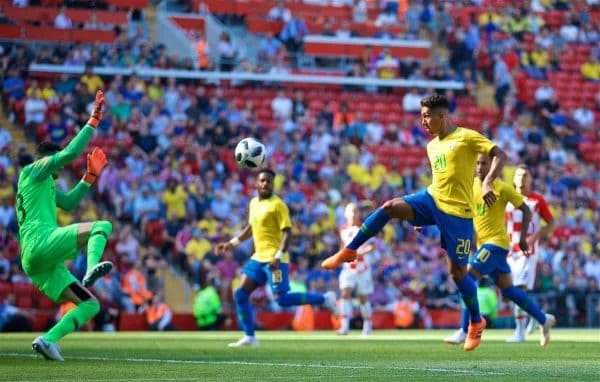LIVERPOOL, ENGLAND - Sunday, June 3, 2018: Brazil and Liverpool striker Roberto Firmino scores the second goal during an international friendly between Brazil and Croatia at Anfield. Brazil won 2-0. (Pic by David Rawcliffe/Propaganda)