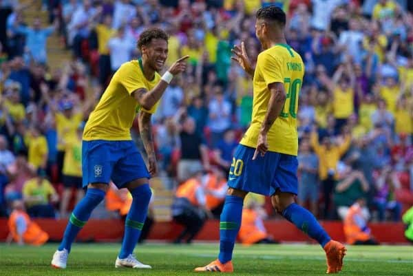 LIVERPOOL, ENGLAND - Sunday, June 3, 2018: Brazil and Liverpool striker Roberto Firmino celebrates scoring the second goal with team-mate Neymar da Silva Santos Júnior (left) during an international friendly between Brazil and Croatia at Anfield. Brazil won 2-0. (Pic by David Rawcliffe/Propaganda)