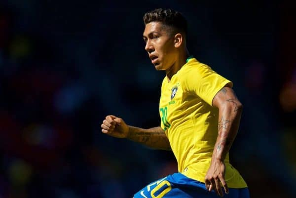 Brazil's Roberto Firmino during an international friendly between Brazil and Croatia at Anfield. (Pic by David Rawcliffe/Propaganda)