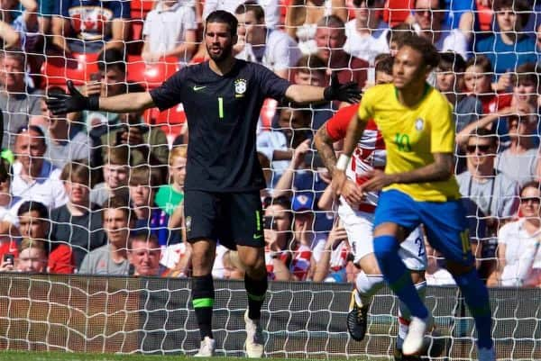 LIVERPOOL, ENGLAND - Sunday, June 3, 2018: Brazil's goalkeeper Alisson Becker during an international friendly between Brazil and Croatia at Anfield. (Pic by David Rawcliffe/Propaganda)