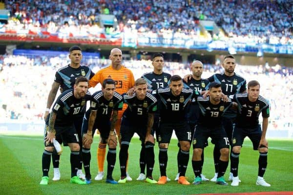 MOSCOW, RUSSIA - Saturday, June 16, 2018: Argentina players line-up for a team group photograph before the FIFA World Cup Russia 2018 Group D match between Argentina and Iceland at the Spartak Stadium. Back row L-R: , goalkeeper Wilfredo Caballero, Maximiliano Meza, Javier Mascherano, Nicolas Otamendi. Front row L-R: Lionel Messi, Angel Di Maria, Lucas Biglia, Eduardo Salvio, Sergio Aguero, Nicolas Tagliafico (Pic by David Rawcliffe/Propaganda)