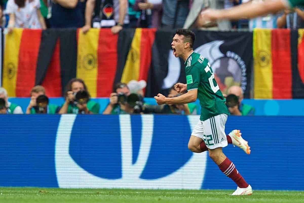 MOSCOW, RUSSIA - Sunday, June 17, 2018: Mexico's Hirving Lozano celebrates scoring the first goal during the FIFA World Cup Russia 2018 Group F match between Germany and Mexico at the Luzhniki Stadium. (Pic by David Rawcliffe/Propaganda)