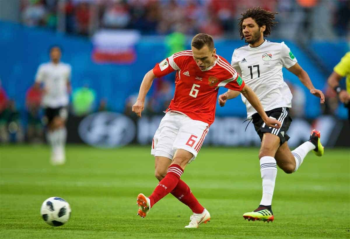 SAINT PETERSBURG, RUSSIA - Sunday, June 17, 2018: Russia's Denis Cheryshev during the FIFA World Cup Russia 2018 Group A match between Russia and Egypt at the Saint Petersburg Stadium. (Pic by David Rawcliffe/Propaganda)
