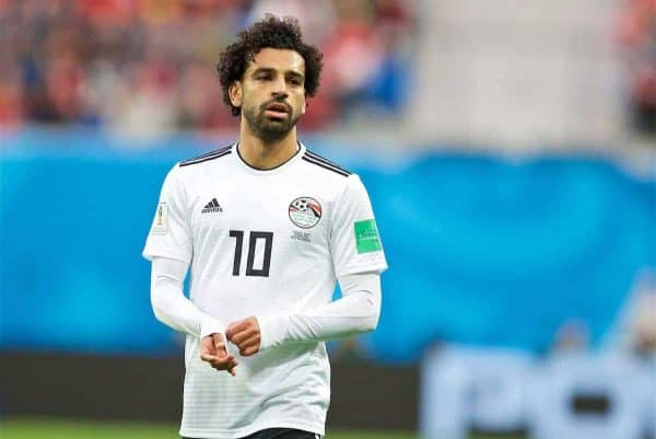 SAINT PETERSBURG, RUSSIA - Sunday, June 17, 2018: Egypt's Mohamed Salah during the FIFA World Cup Russia 2018 Group A match between Russia and Egypt at the Saint Petersburg Stadium. (Pic by David Rawcliffe/Propaganda)