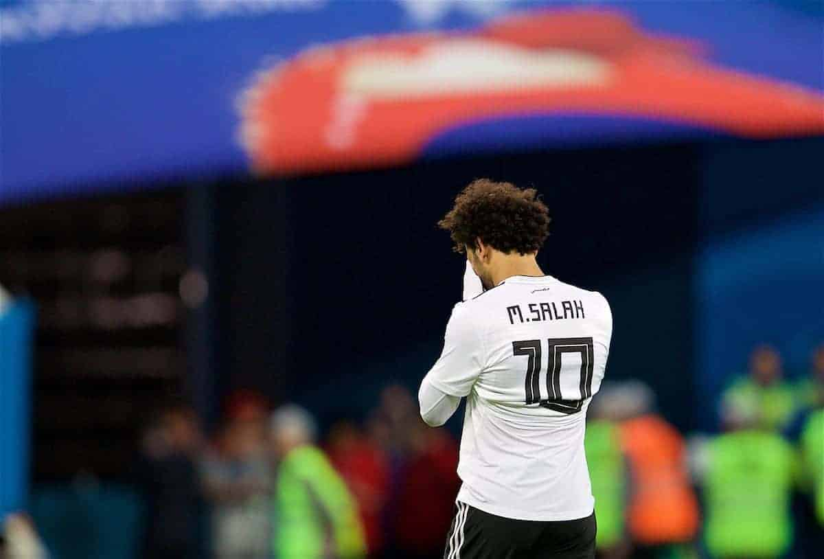 SAINT PETERSBURG, RUSSIA - Sunday, June 17, 2018: Egypt's Mohamed Salah walks off dejected as his side lose 3-1 during the FIFA World Cup Russia 2018 Group A match between Russia and Egypt at the Saint Petersburg Stadium. (Pic by David Rawcliffe/Propaganda)