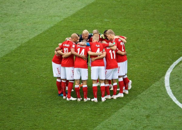 MOSCOW, RUSSIA - Tuesday, June 26, 2018: Denmark players form a pre-match huddle before the FIFA World Cup Russia 2018 Group C match between Denmark and France at the Luzhniki Stadium. (Pic by David Rawcliffe/Propaganda)