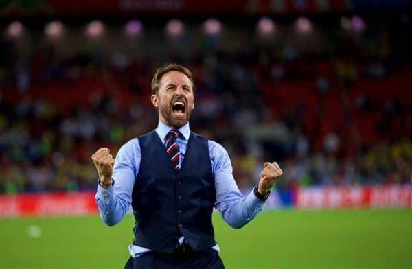 MOSCOW, RUSSIA - Tuesday, July 3, 2018: England's manager Gareth Southgate screams in celebration after beating Colombia on penalties during the FIFA World Cup Russia 2018 Round of 16 match between Colombia and England at the Spartak Stadium. (Pic by David Rawcliffe/Propaganda)