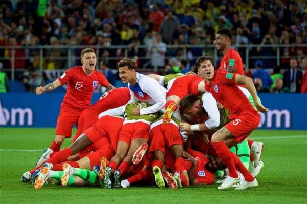 MOSCOW, RUSSIA - Tuesday, July 3, 2018: England players celebrate after winning the penalty shoot-out during the FIFA World Cup Russia 2018 Round of 16 match between Colombia and England at the Spartak Stadium. (Pic by David Rawcliffe/Propaganda)