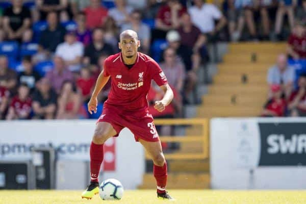 CHESTER, ENGLAND - Saturday, July 7, 2018: Liverpool's Fabinho during a preseason friendly match between Chester FC and Liverpool FC at the Deva Stadium. (Pic by Paul Greenwood/Propaganda)