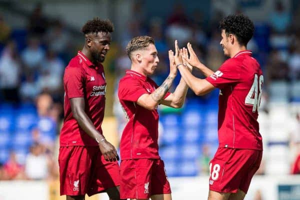 CHESTER, ENGLAND - Saturday, July 7, 2018: Liverpool's Harry Wilson celebrates scoring his sides second goal with Curtis Jones during a preseason friendly match between Chester FC and Liverpool FC at the Deva Stadium. (Pic by Paul Greenwood/Propaganda) Divock Origi