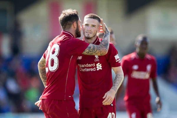CHESTER, ENGLAND - Saturday, July 7, 2018: Liverpool's Ryan Kent celebrates scoring his sides fifth goal with Danny Ings during a preseason friendly match between Chester FC and Liverpool FC at the Deva Stadium. (Pic by Paul Greenwood/Propaganda)