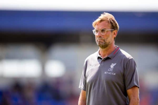 CHESTER, ENGLAND - Saturday, July 7, 2018: Liverpool's manager Jürgen Klopp during a preseason friendly match between Chester FC and Liverpool FC at the Deva Stadium. (Pic by Paul Greenwood/Propaganda)