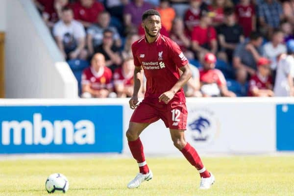 CHESTER, ENGLAND - Saturday, July 7, 2018: Liverpool's Joe Gomez during a preseason friendly match between Chester FC and Liverpool FC at the Deva Stadium. (Pic by Paul Greenwood/Propaganda)