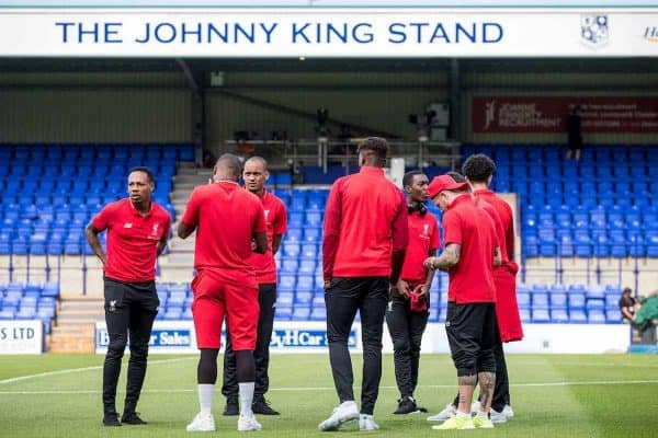 BIRKENHEAD, ENGLAND - Tuesday, July 10, 2018: Liverpool's players inspect the pitch before a preseason friendly match between Tranmere Rovers FC and Liverpool FC at Prenton Park. (Pic by Paul Greenwood/Propaganda)