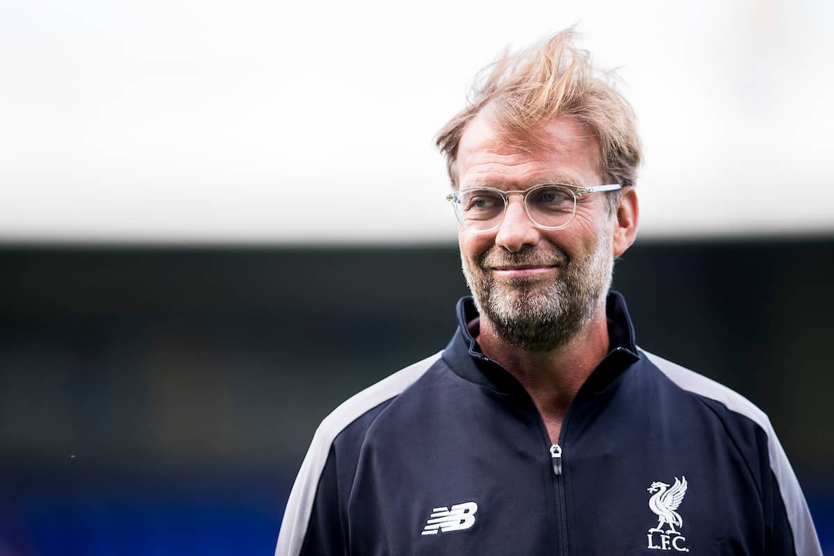 BIRKENHEAD, ENGLAND - Tuesday, July 10, 2018: Liverpool's manager Jürgen Klopp before a preseason friendly match between Tranmere Rovers FC and Liverpool FC at Prenton Park. (Pic by Paul Greenwood/Propaganda)