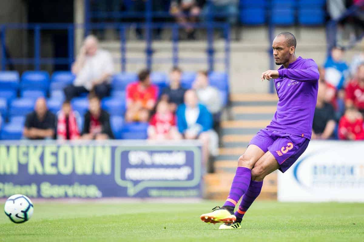 BIRKENHEAD, ENGLAND - Tuesday, July 10, 2018: Liverpool's Fabio Henrique Tavares 'Fabinho' during the pre-match warm-up before a preseason friendly match between Tranmere Rovers FC and Liverpool FC at Prenton Park. (Pic by Paul Greenwood/Propaganda)