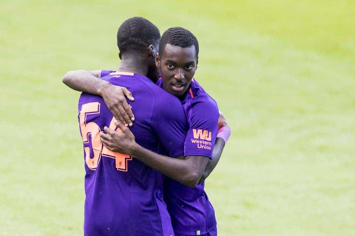BIRKENHEAD, ENGLAND - Tuesday, July 10, 2018: Liverpool's Rafael Camacho celebrates scoring the first goal with Sheyi Ojo during a preseason friendly match between Tranmere Rovers FC and Liverpool FC at Prenton Park. (Pic by Paul Greenwood/Propaganda)