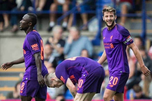 BIRKENHEAD, ENGLAND - Tuesday, July 10, 2018: Liverpool's Adam Lallana celebrates scoring the third goal during a preseason friendly match between Tranmere Rovers FC and Liverpool FC at Prenton Park. (Pic by Paul Greenwood/Propaganda)