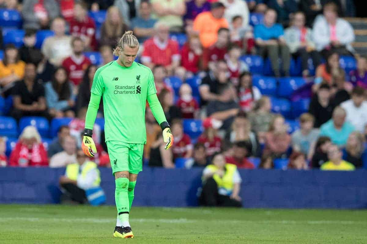 BIRKENHEAD, ENGLAND - Tuesday, July 10, 2018: Liverpool's goalkeeper Loris Karius looks dejected during a preseason friendly match between Tranmere Rovers FC and Liverpool FC at Prenton Park. (Pic by Paul Greenwood/Propaganda)