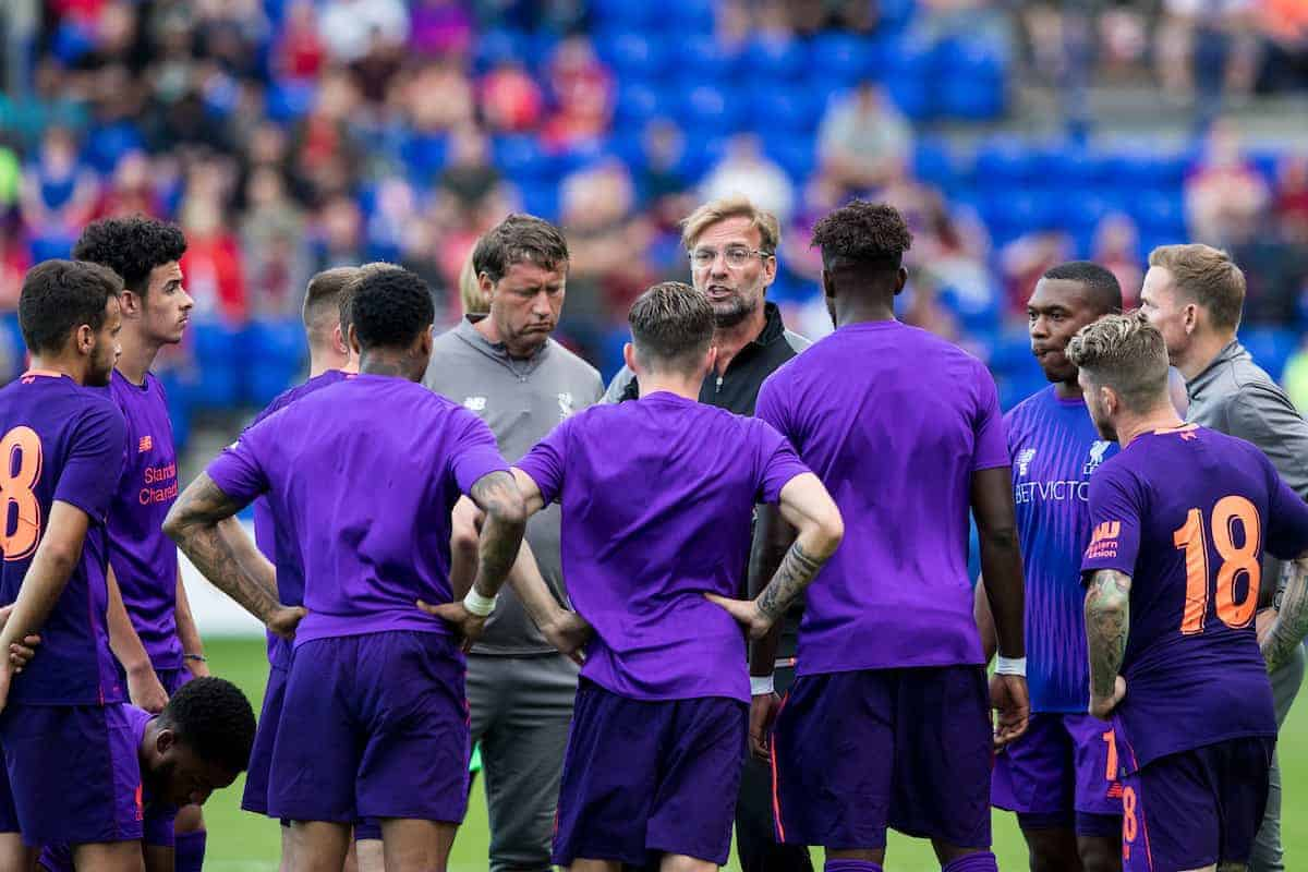 BIRKENHEAD, ENGLAND - Tuesday, July 10, 2018: Liverpool's manager Jürgen Klopp gives a team talk to the second half substitutes in half time during a preseason friendly match between Tranmere Rovers FC and Liverpool FC at Prenton Park. (Pic by Paul Greenwood/Propaganda)