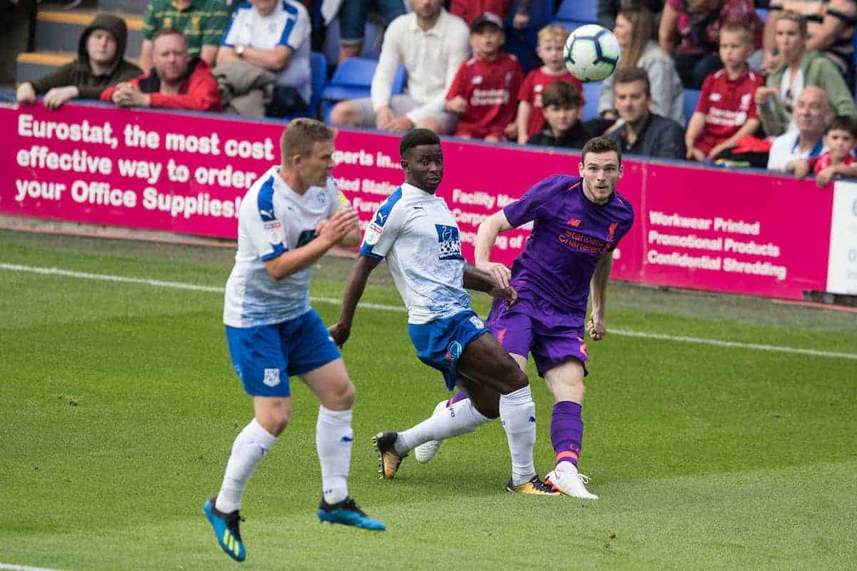 BIRKENHEAD, ENGLAND - Tuesday, July 10, 2018: Liverpool's Andy Robertson during a preseason friendly match between Tranmere Rovers FC and Liverpool FC at Prenton Park. (Pic by Paul Greenwood/Propaganda)