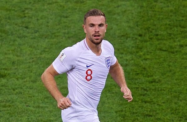 MOSCOW, RUSSIA - Wednesday, July 11, 2018: England's Jordan Henderson during the FIFA World Cup Russia 2018 Semi-Final match between Croatia and England at the Luzhniki Stadium. (Pic by David Rawcliffe/Propaganda)