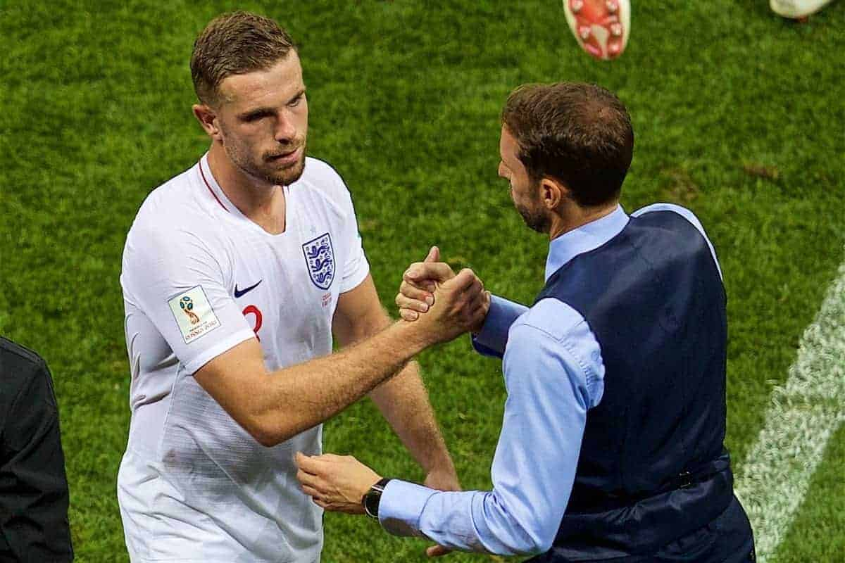 MOSCOW, RUSSIA - Wednesday, July 11, 2018: England's Jordan Henderson is substituted by England's manager Gareth Southgate during the FIFA World Cup Russia 2018 Semi-Final match between Croatia and England at the Luzhniki Stadium. (Pic by David Rawcliffe/Propaganda)