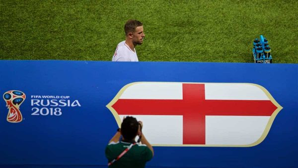MOSCOW, RUSSIA - Wednesday, July 11, 2018: England's Jordan Henderson walks to the bench as he is substituted Southgate during the FIFA World Cup Russia 2018 Semi-Final match between Croatia and England at the Luzhniki Stadium. (Pic by David Rawcliffe/Propaganda)