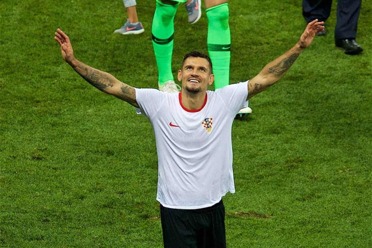 MOSCOW, RUSSIA - Wednesday, July 11, 2018: Croatia's Dejan Lovren celebrates after the FIFA World Cup Russia 2018 Semi-Final match between Croatia and England at the Luzhniki Stadium. Croatia won 2-1 after extra-time. (Pic by David Rawcliffe/Propaganda)