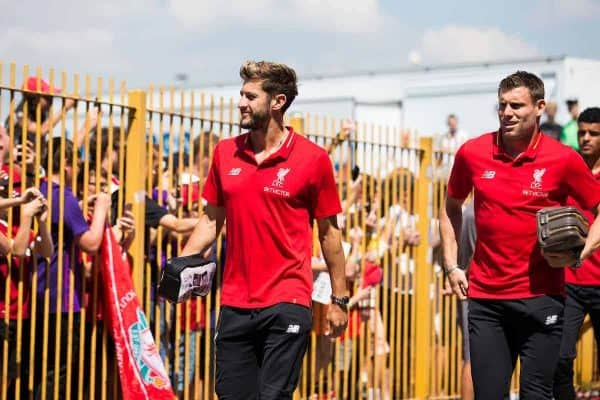 BURY, ENGLAND - Saturday, July 14, 2018: Liverpool's Adam Lallana and James Milner as the team arrives before a preseason friendly match between Bury FC and Liverpool FC at Gigg Lane. (Pic by Paul Greenwood/Propaganda)